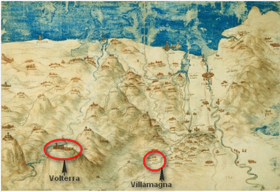 bird's eye view of the Arn's Valley, by Leonardo da Vinci